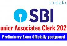SBI JA Clerk Exam 2021 - Preliminary Exam Officially postponed