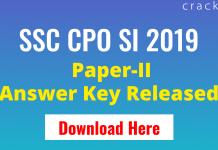 SSC CPO 2019 Paper-2 ANSWER KEY