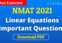 NMAT Linear Equations Important Questions