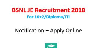 BSNL JE Recruitment 2018 notification - apply online