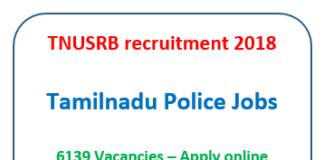 TNUSRB recruitment 2018 - Tamilnadu police - apply online