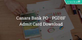 Canara Bank Admit Card download 2018 - PGDBF