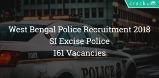 West Bengal Sub inspector Recruitment 2018 - SI Excise Police 161 Vacancies