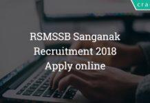 rsmssb Recruitment 2018 Rajasthan Sanganak - Apply online