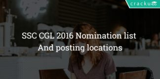 SSC CGL 2016 Nomination list And posting locations