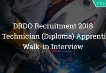 DRDO Technician( Diploma) Apprentice Recruitment 2018 - Walk-in
