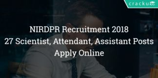 NIRDPR Recruitment 2018 – 27 Scientist, Attendant, Assistant Posts