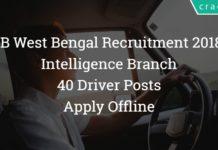 Intelligence Branch West Bemgal Recruitment 2018 – 40 Driver Posts