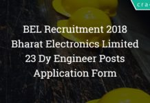BEL Recruitment 2018 – 23 Dy Engineer Posts – Application Form