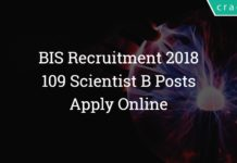 BIS Recruitment 2018 – 109 Scientist B Posts – Apply Online