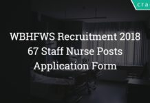 WBHFWS Recruitment 2018 - Staff Nurse 67 Posts – Application Form