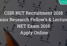 CSIR NET Recruitment 2018 – Junior Research Fellow's & Lecturers NET Exam 2018