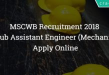 MSCWB Recruitment 2018 – 57 Sub Assistant Engineer (Mechanical) Posts - Apply Online