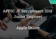 APPSC JE Recruitment 2018 - Junior Engineer Apply Online