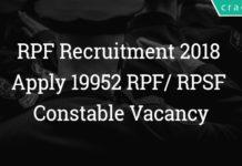 RPF Recruitment 2018 | Apply 19952 RPF/ RPSF Constable Vacancy