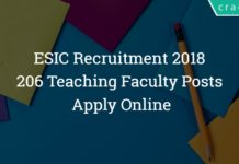 ESIC Delhi Recruitment 2018 - Apply Online - 206 Teaching Faculty Posts