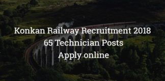Konkan Railway KRCL Recruitment 2018 – 65 Technician Posts -  Apply online