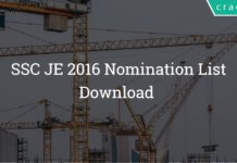 SSC JE Nomination List 2016