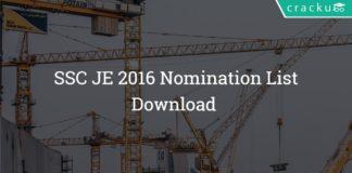 SSC JE Nomination List 2016