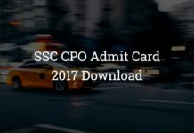 SSC CPO Admit Card Download 2017