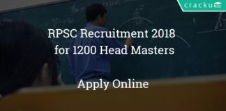 RPSC Recruitment 2018 Rajasthan Public Service Commission - Apply online for 1200 Head Masters