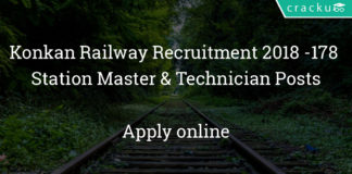 Konkan Railway Recruitment 2018 – Apply Online for 178 Station Master & Technician Posts