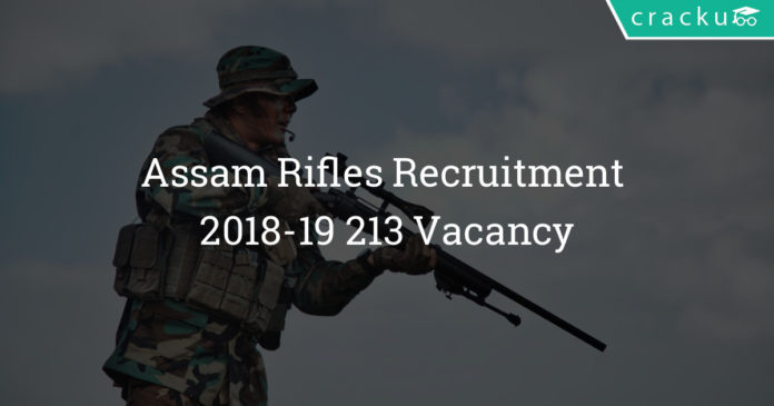 Assam Rifles Recruitment 2018-19 - Apply for 213 Vacancy - compassionate ground appointments