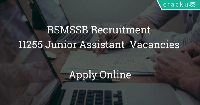RSMSSB Recruitment 2018 - Apply online for 11255 Junior Assistant Grade-II Clerk Vacancies