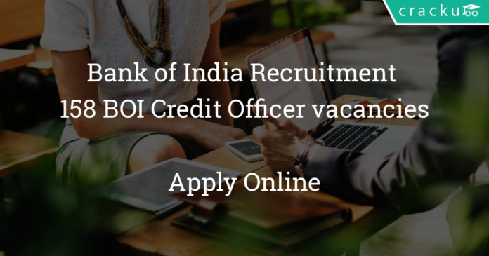 Bank of India Recruitment 2018 - Apply Online for 158 BOI Credit Officer vacancies