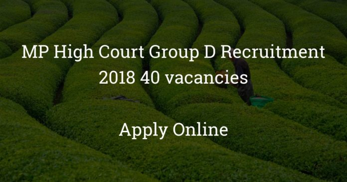 mp high court group d recruitment 2018 - 40 vacancies - Apply online