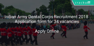 indian army dental corps recruitment 2018 - Application form for 34 vacancies
