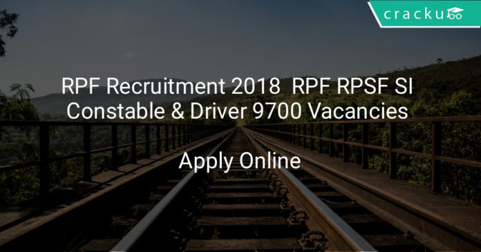 rpf recruitment 2018 - RPF RPSF SI, Constable & Driver 9700 Vacancies apply online application form