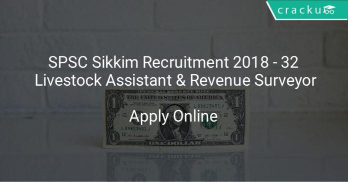 spsc sikkim recruitment 2018 - Apply online for 32 Livestock assistant & Revenue surveyor