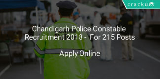 chandigarh police constable recruitment 2018 - Apply online for 215 posts