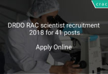 DRDO RAC scientist recruitment 2018 - Apply online for 41 posts