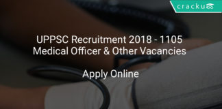 uppsc recruitment 2018 - 1105 Medical officer & other vacancies - Apply online