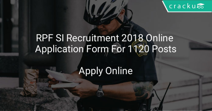 RPF SI Recruitment 2018 Online Application Form For 1120 Posts