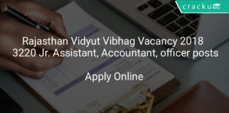 rajasthan vidyut vibhag vacancy 2018 - Apply online 3220 Jr. Assistant, stenographer, Accountant, officer posts
