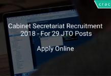 Cabinet Secretariat Recruitment 2018 - apply online for 29 JTO posts