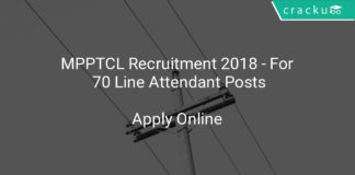 MPPTCL Recruitment 2018 - Apply Online For 70 Line Attendant Posts