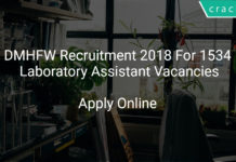 DMHFW Recruitment 2018 Apply Online For 1534 Laboratory Assistant Vacancies
