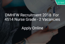 DMHFW Recruitment 2018 Apply Online For 4514 Nurse Grade - 2 Vacancies