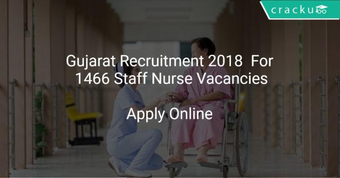 Gujarat Recruitment 2018 Apply Online For 1466 Staff Nurse Vacancies