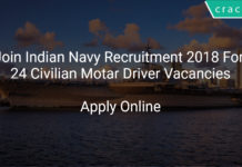Join Indian Navy Recruitment 2018 Apply Online For 24 Civilian Motar Driver Vacancies