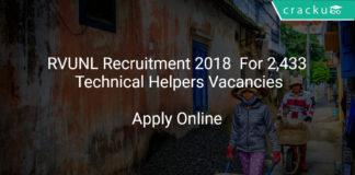 RVUNL Recruitment 2018 Apply Online For Technical Helpers Vacancies