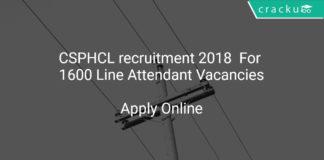 CSPHCL recruitment 2018 Apply Online Folr 1600 Line Attendant Vacancies