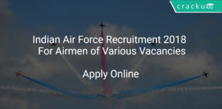 Indian Air Force Recruitment 2018 Apply Online For Airmen of Various Vacancies