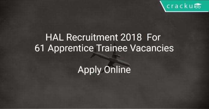 HAL Recruitment 2018 Apply Online For 61 Apprentice Trainee Vacancies
