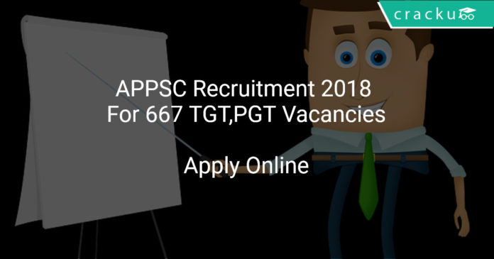 APPSC Recruitment 2018 Apply Online For 667 TGT,PGT Vacancies