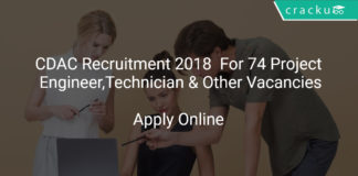 CDAC Recruitment 2018 Apply Online For 74 Project Engineer, Project Technician & Other Vacancies